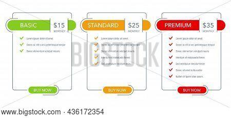 Tariff Comparsion Table Block - Web Ui Chart Flat Template - Basic, Standard, Premium Tariffs - Thre