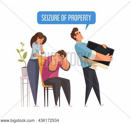 Mortgage Credit Cartoon Icon With Sad Family And Agent Seizing Their Property Vector Illustration