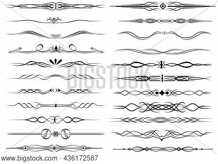 Vintage Dividers And Borders - Set Of Black Dividers And Borders Isolated On White Background, Vecto
