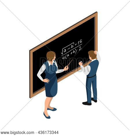 Isometric Icon With Teacher And Pupil Writing On Black Board On Maths Lesson Vector Illustration