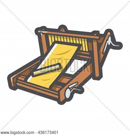 Loom Textil Equipment Vector Icon Cartoon Illustration