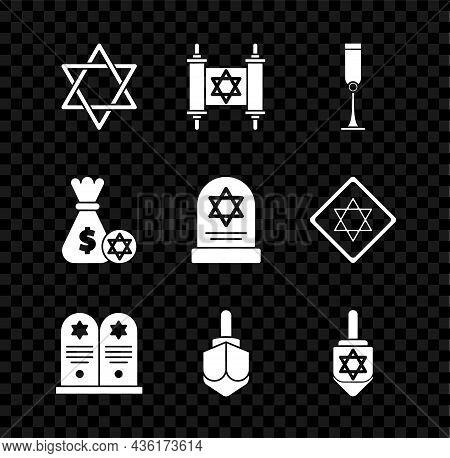 Set Star Of David, Torah Scroll, Jewish Goblet, Tombstone With Star David, Hanukkah Dreidel, Money B