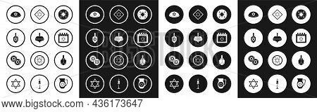 Set Jewish Coin, Hanukkah Dreidel, Kippah With Star Of David, Calendar, Star David, And Icon. Vector