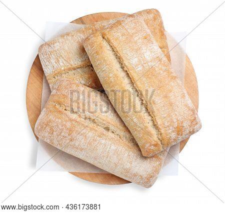 Crispy Ciabattas Isolated On White, Top View. Fresh Bread