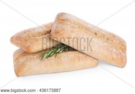 Crispy Ciabattas With Rosemary Isolated On White. Fresh Bread