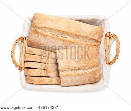 Delicious Ciabattas In Wicker Basket Isolated On White, Top View