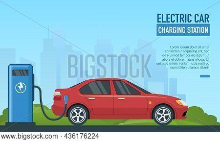 Flat Vector Illustration Of Electric Car Charging Station. Suitable For Background Design Of Eco Fri