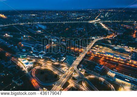 Brest, Belarus. Aerial Birds-eye View Of Cityscape Skyline. Night Traffic In Residential District. N