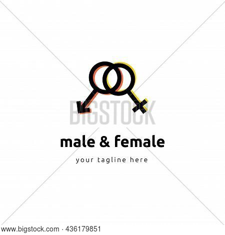 Romantic Concept Sign, Love Illustration Of Male And Female Sex Symbol On Isolated White Background