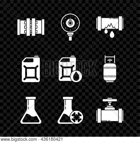 Set Industry Metallic Pipes And Valve, Motor Gas Gauge, Broken With Leaking Water, Test Tube Flask,