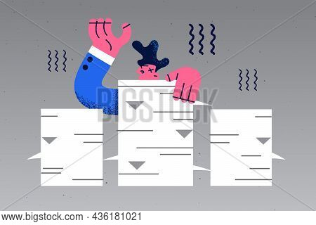 Stress, Much Work And Exhaustion Concept. Frustrated Young Businessman Cartoon Character Standing Wi