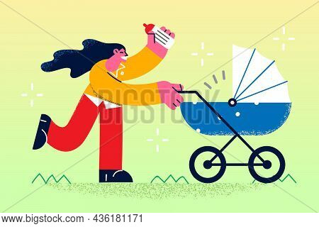 Happy Motherhood And Walking With Baby Concept. Young Smiling Woman Mother Cartoon Character Walking
