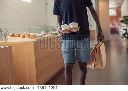 Black Man Working Deliveryman In Covid-19 Pandemic