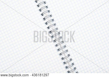 Blank Empty Open Spiral Notebook Background With Copy Space, Study, Education And Planning Concept.