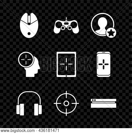 Set Computer Mouse Gaming, Gamepad, Premium Create Account Screen, Headphones, Target Sport, Video G