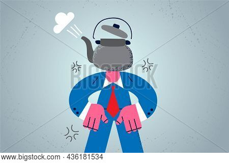 Stress, Overwork And Exhaustion Concept. Businessman Cartoon Character Standing With Kettle On Head