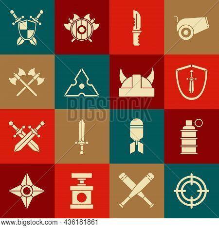 Set Target Sport, Hand Grenade, Medieval Shield With Sword, Military Knife, Japanese Ninja Shuriken,