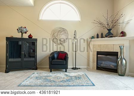 Contemporary Condo Interior in Black and Cream with Red and Blue Accents