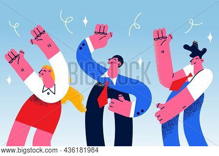 Teamwork Celebrating Success Together Concept. Group Of Young Smiling People Coworkers Cartoon Chara