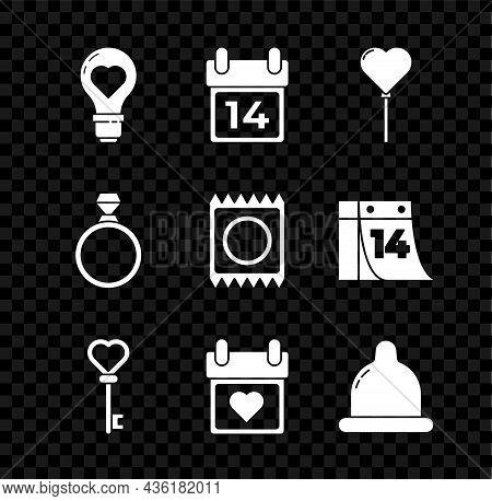 Set Heart Shape In A Light Bulb, Calendar With February 14, Balloons Form Of Heart, Key, Condom, Dia