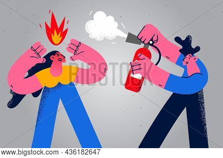 Feeling Angry And Furious Concept. Young Man Putting Out Fire On Angry Rage Furious Woman Cartoon Ch