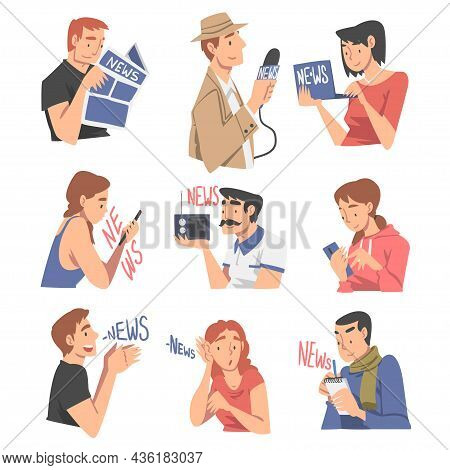 People Character Gathering News Using Smartphone, Newspaper And Radio Vector Set
