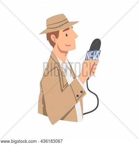 Man Journalist Character In Hat With Microphone Gathering News Conducting Interview Vector Illustrat