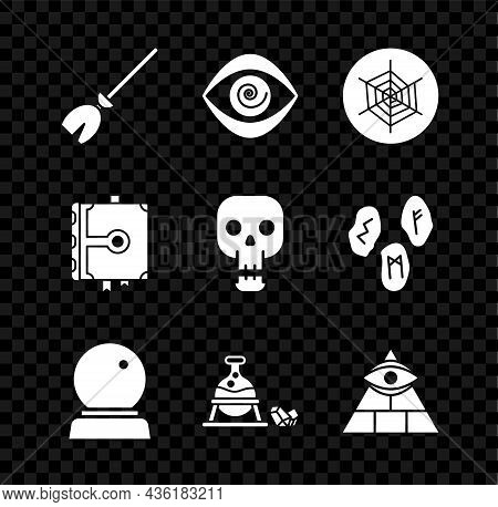 Set Witches Broom, Hypnosis, Spider Web, Magic Ball, Cauldron And Magic Stone, Masons, Ancient Book