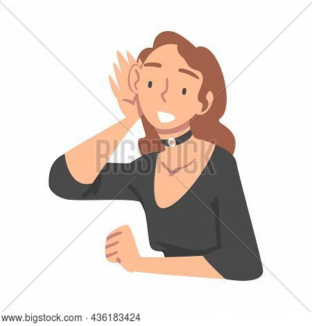 Woman Character Gathering News Listening To Somebody Vector Illustration