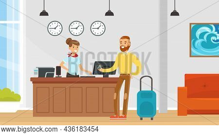 Woman As Hotel Receptionist In Uniform Accepting Man Visitor Vector Illustration