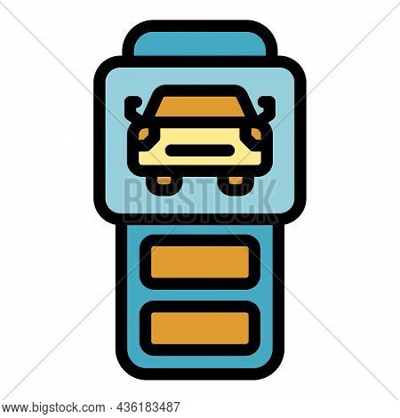 Car Keyless System Icon. Outline Car Keyless System Vector Icon Color Flat Isolated