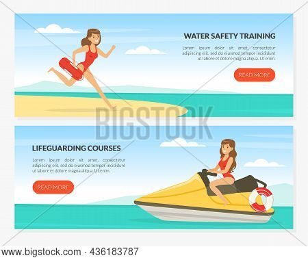 Young Woman Lifeguard On Water Scooter Supervising Safety Vector Web Page Template