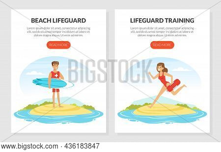 Young Man And Woman Lifeguard With Surfboard Supervising Safety Vector Template
