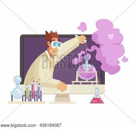 Male Blogger Carrying Out Scientific Experiments With Chemicals In His Video Cartoon Vector Illustra