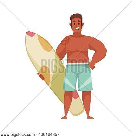 Cartoon Icon With Happy Suntanned Man Holding Surfboard Vector Illustration
