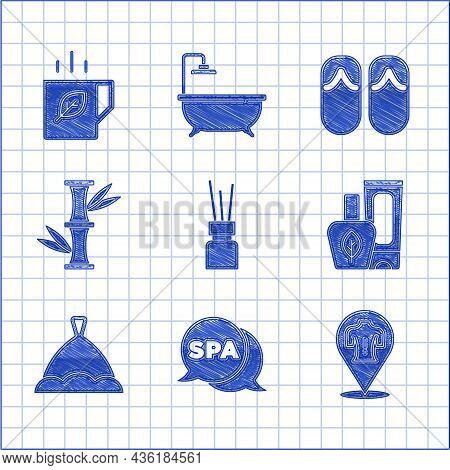 Set Aroma Diffuser, Spa Salon, Massage, Ointment Cream Tube, Sauna Hat, Bamboo, Flip Flops And Cup O