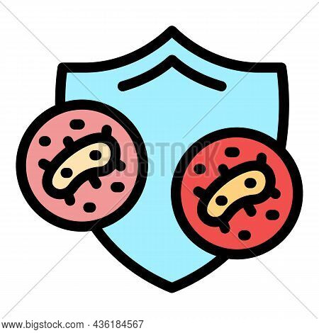 Shield Bacterial Protection Icon. Outline Shield Bacterial Protection Vector Icon Color Flat Isolate