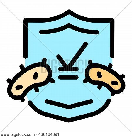 Healthcare Shield Icon. Outline Healthcare Shield Vector Icon Color Flat Isolated