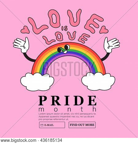 Smiling Cheerful Rainbow Holding Love Is Love Frase. Creative Lgbtq Or Pride Month Web Or Advertisem
