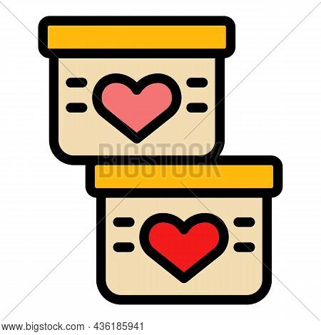 Solidarity Boxes Charity Icon. Outline Solidarity Boxes Charity Vector Icon Color Flat Isolated