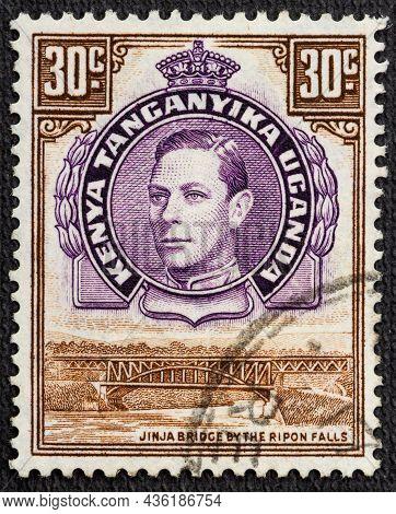Postage Stamp Printed By Kenya, Uganda And Tanganyika, That Shows Jinja Bridge And Ripon Falls And P