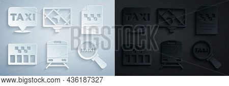 Set Train, Taxi Driver License, Taximeter, Magnifying Glass And Taxi Car, Gps Device With Map And Lo