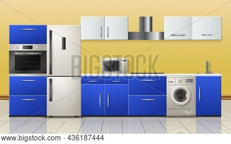 Household Appliances Modern Kitchen Realistic Interior View With Refrigerator Stove Microwave Dishwa