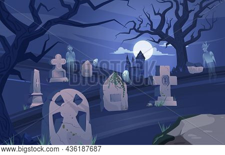 Cemetery Gravestone Halloween Composition Ancient Cemetery At Night Ghosts Float Over The Graves Vec