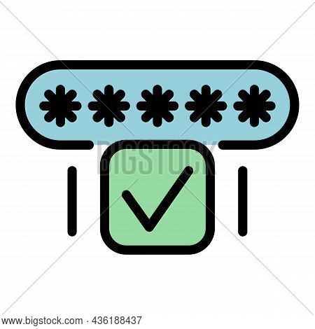 Correct Password Icon. Outline Correct Password Vector Icon Color Flat Isolated