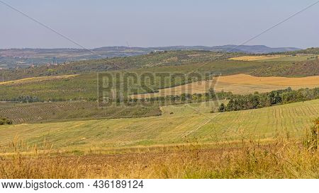 Rural Serbia Nature Hills And Fields At Summer Day Landscape