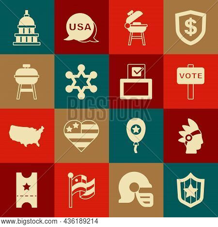 Set Shield With Stars, Native American Indian, Vote, Barbecue Grill, Hexagram Sheriff, White House A
