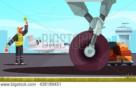 Airport Airfield Cartoon Composition With Marshaller Signaling Near Aircraft Landing Gear Wheel And