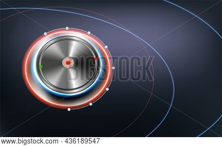 Realistic Dashboard Interface Elements Abstract Background With Chrome Dial Knob Vector Illustration