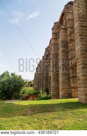 The Acueducto de los Milagros, Miraculous Aqueduct in Merida, Extremadura, Spain is a ruined Roman aqueduct bridge, aqueduct built to supply water to the Roman colony of Emerita Augusta, Merida, Spain